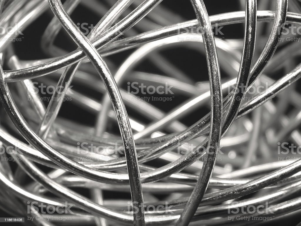 A ball of bent abstract silver wire royalty-free stock photo