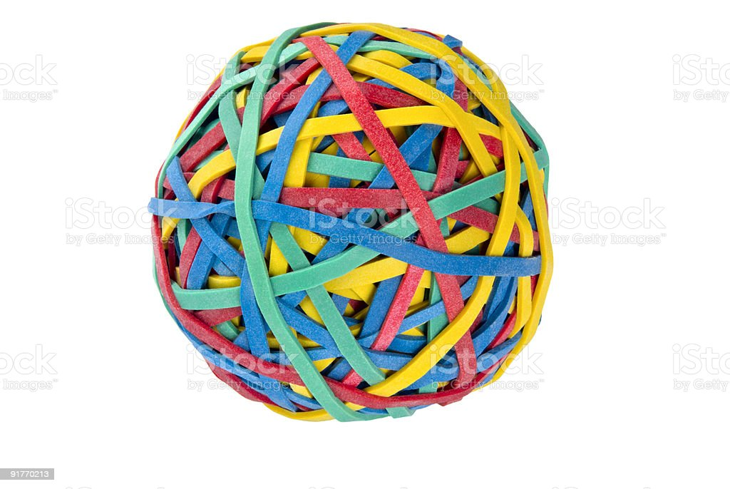 ball of colorful rubber bands on an isolated white background stock photo