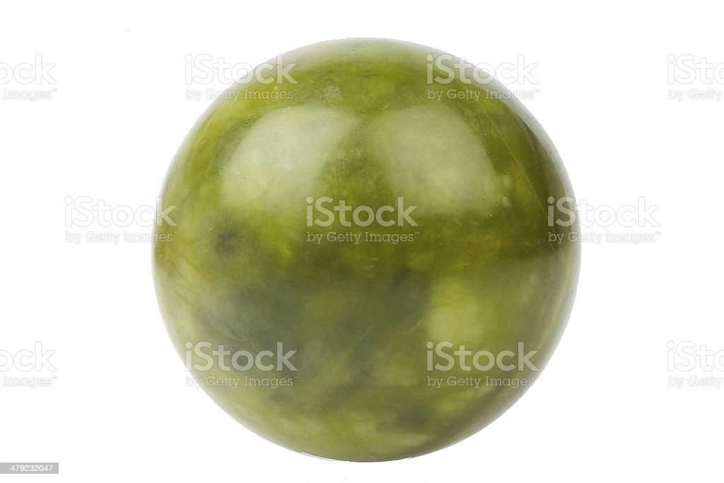 Ball of green jade stone isolated stock photo
