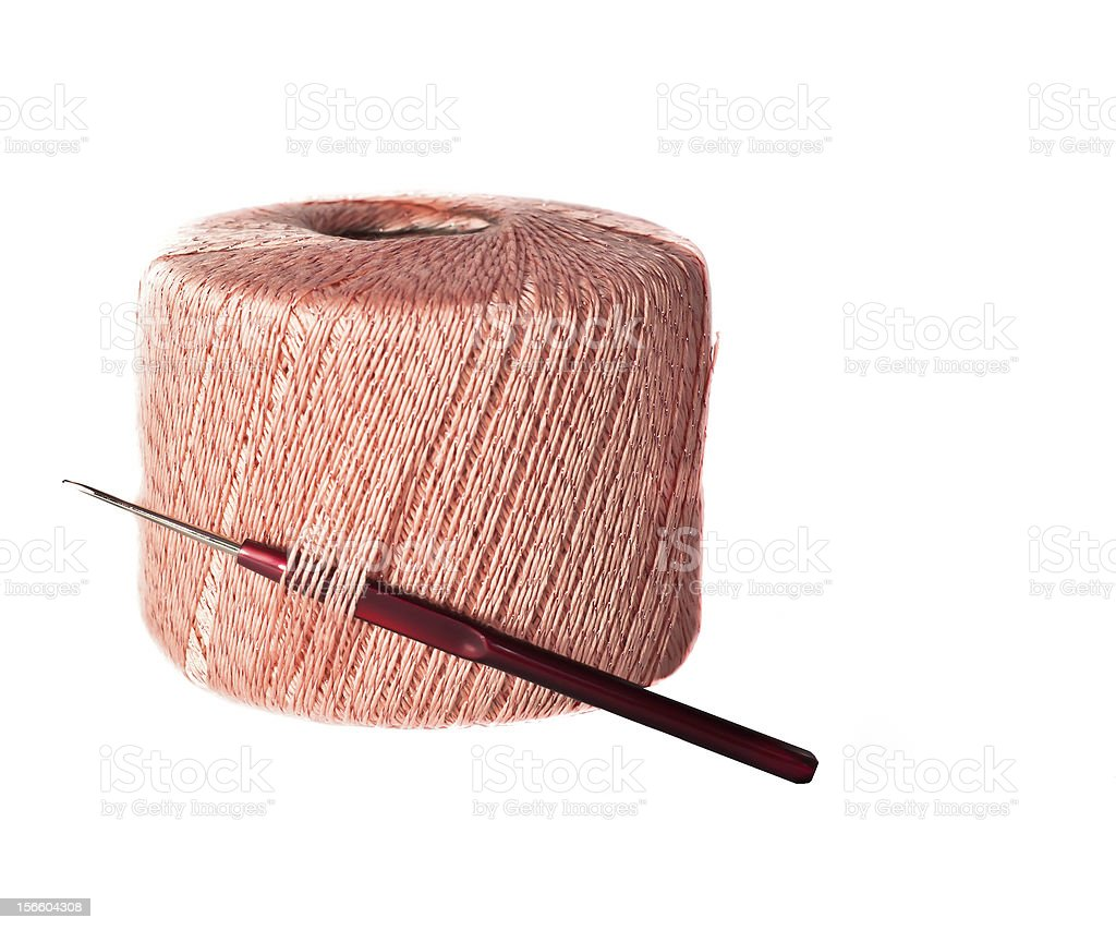 Ball of pink wool royalty-free stock photo