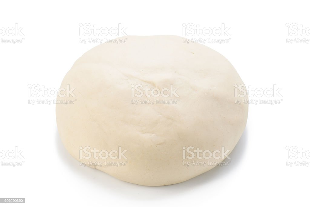 Ball of raw dough isolated on white background. Top view. stock photo