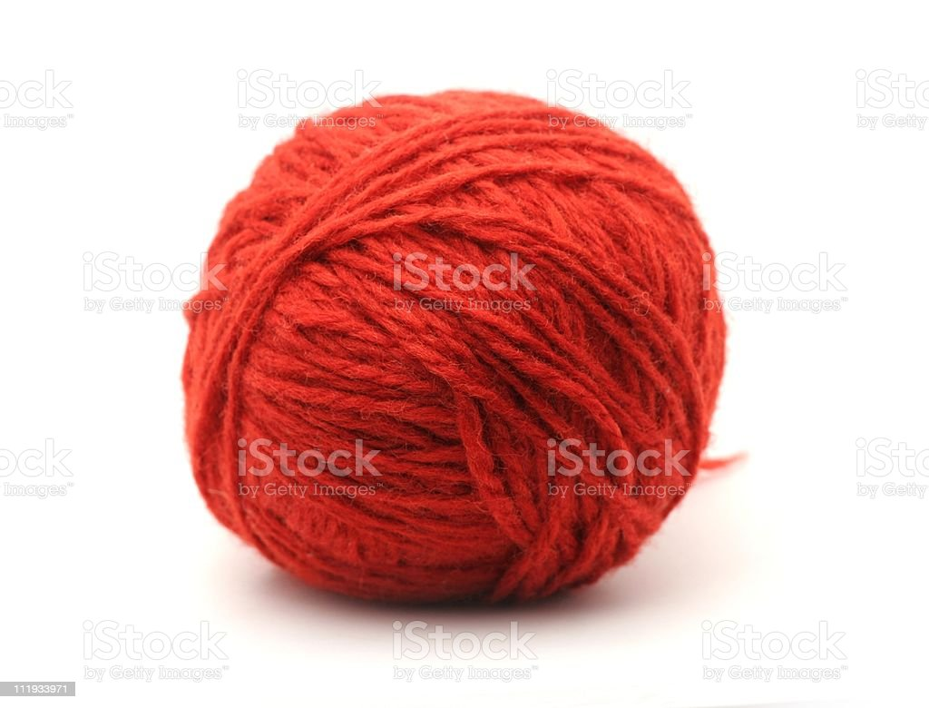 Ball of red yarn isolated on white stock photo