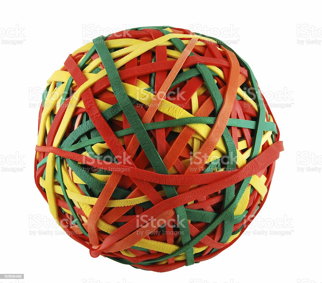Ball of Rubber Bands Isolated royalty-free stock photo