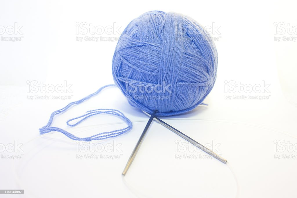Ball of thread and knitting spokes royalty-free stock photo