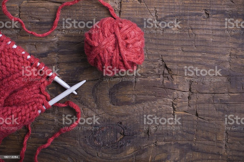 ball of wool and knitting royalty-free stock photo