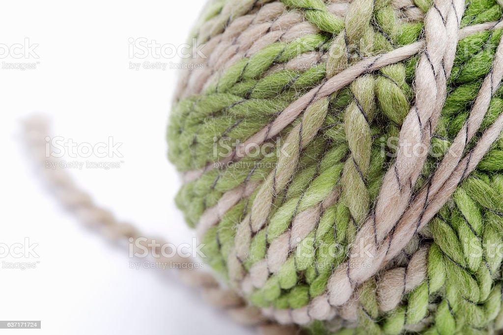 Ball of wool yarn on white background stock photo