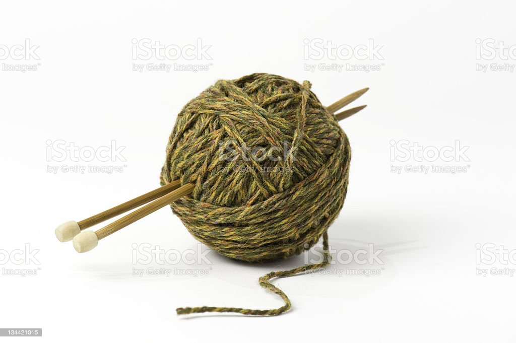 Ball of Yarn and Knitting Needles stock photo