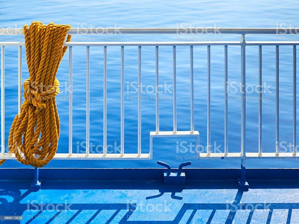 Ball of yarn, marine rope, passenger ship stock photo