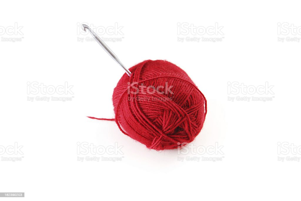 Ball of Yarn on White Background stock photo