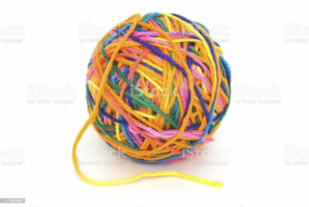 Ball of yarn on white stock photo