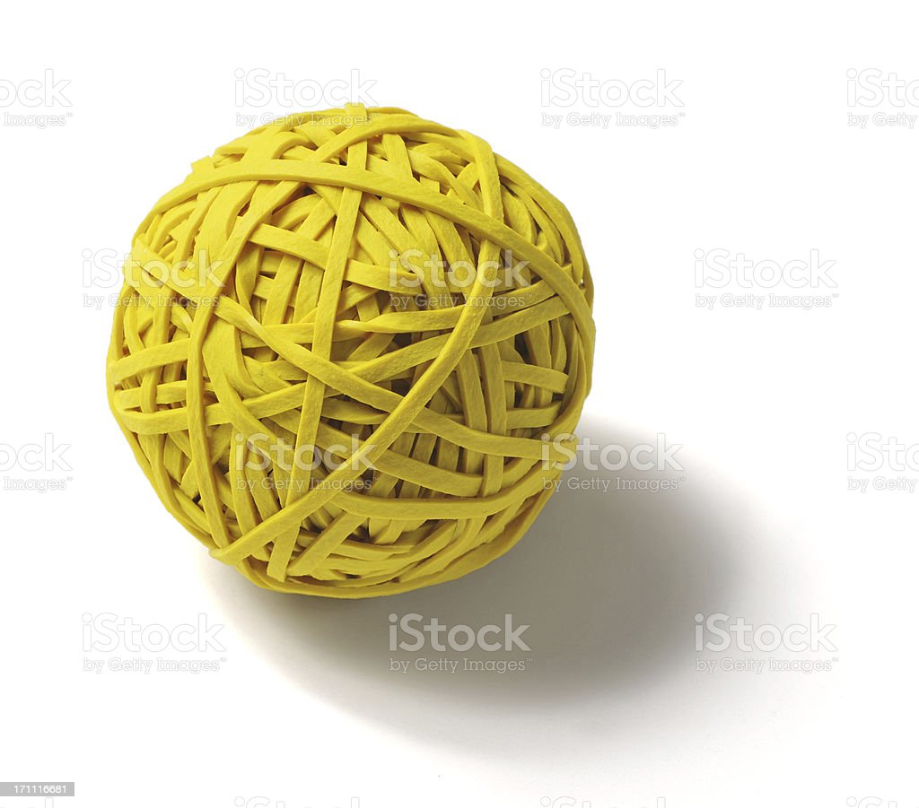 Ball of Yellow Rubber Bands Isolated on White Background stock photo