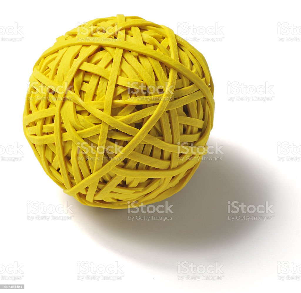 Ball of Yellow Rubber Bands on White stock photo