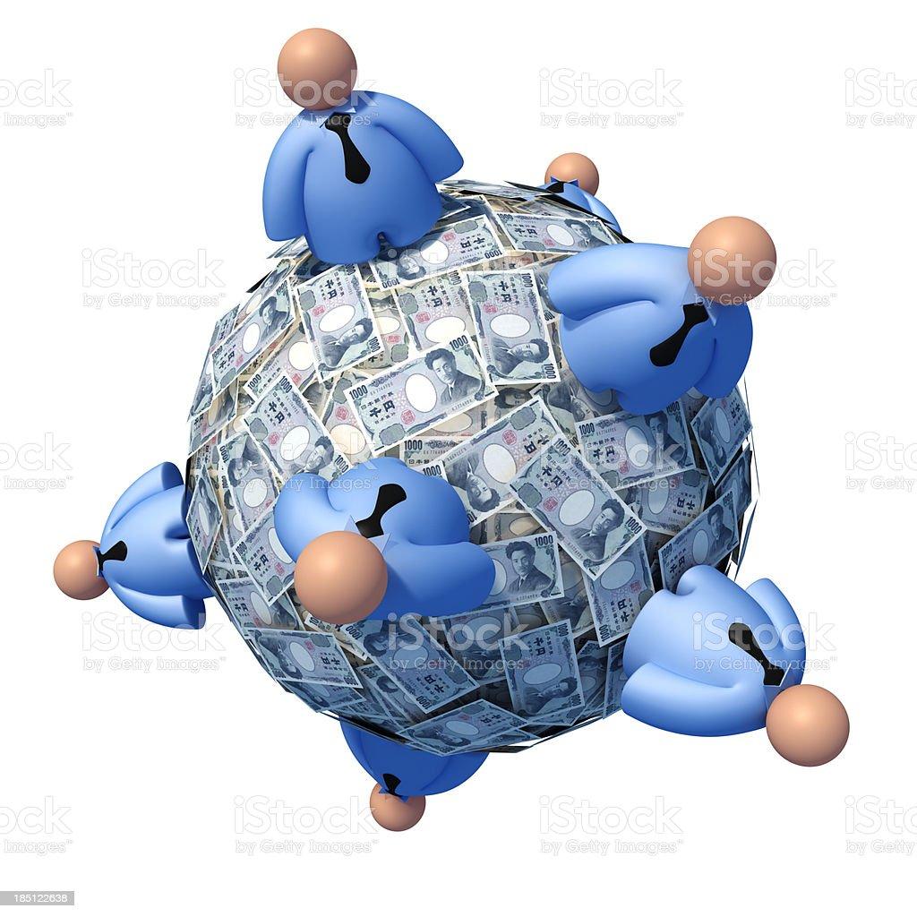 Ball of Yen notes stock photo
