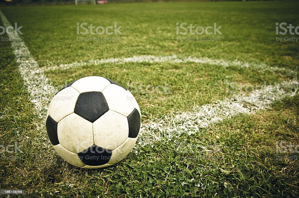 Ball on a soccer field stock photo
