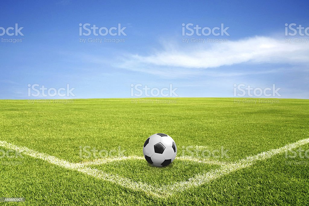 ball on corner of football field stock photo