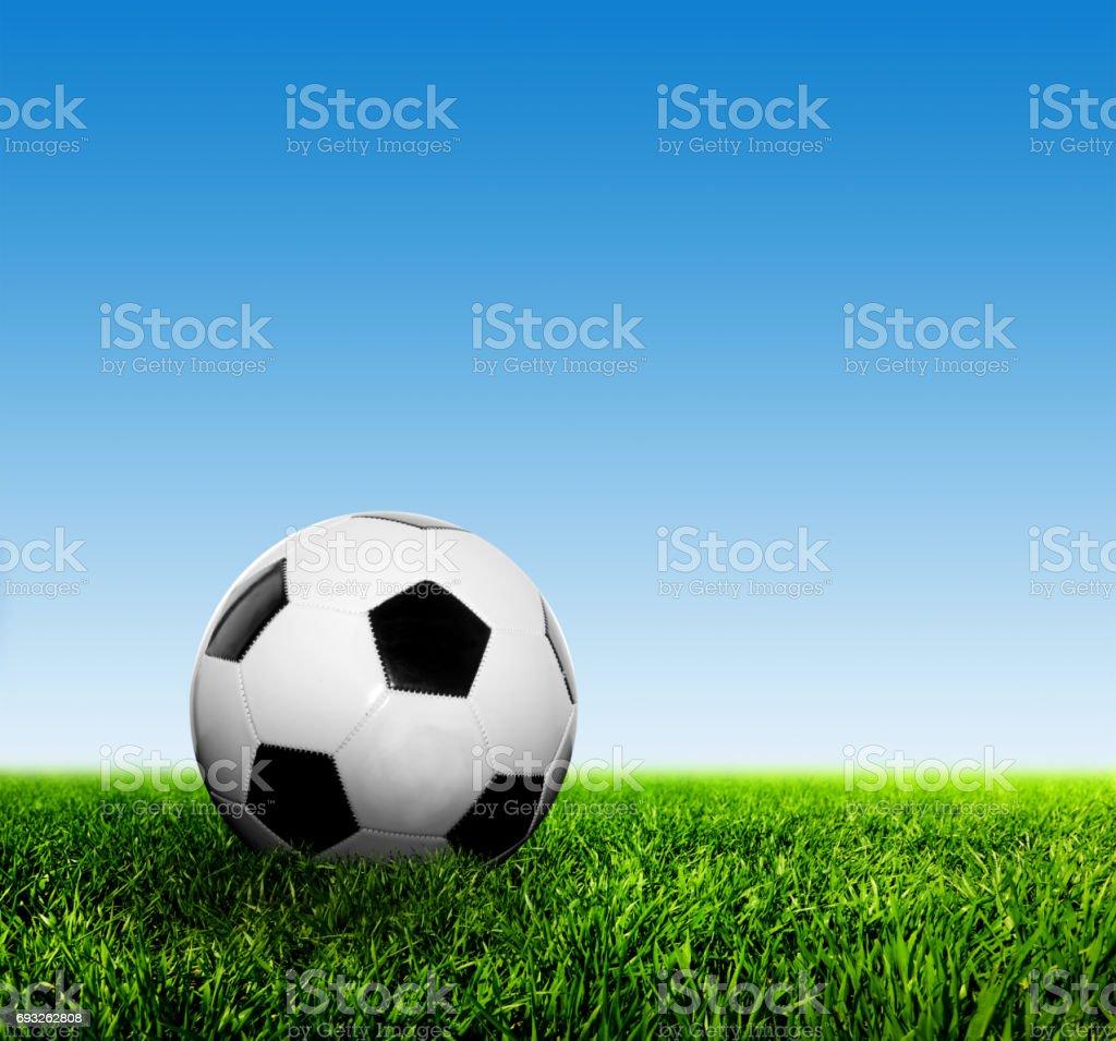 Ball on grass against blue sky. Football, soccer. stock photo