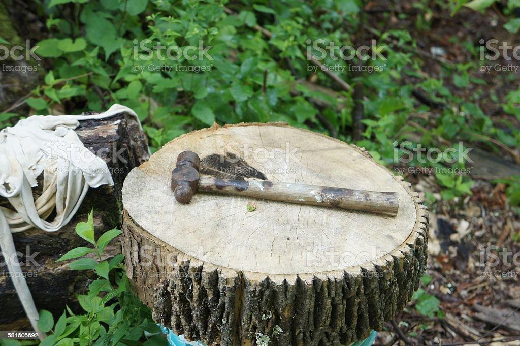 Ball Peen Hammer on Wood Stump stock photo