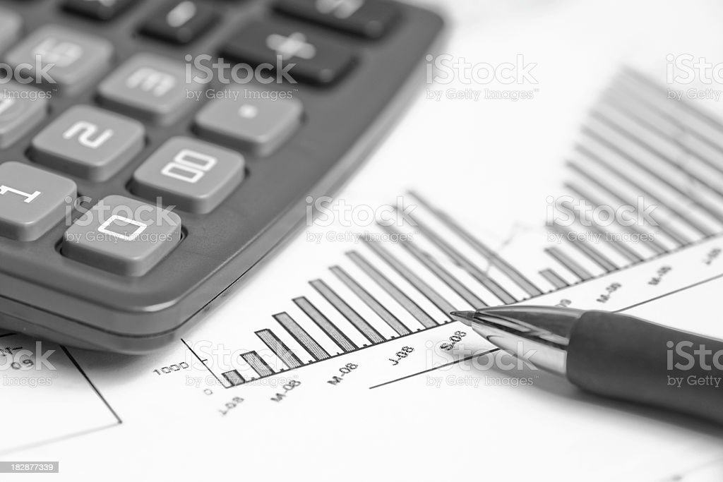 Ball pen and caculator stock photo