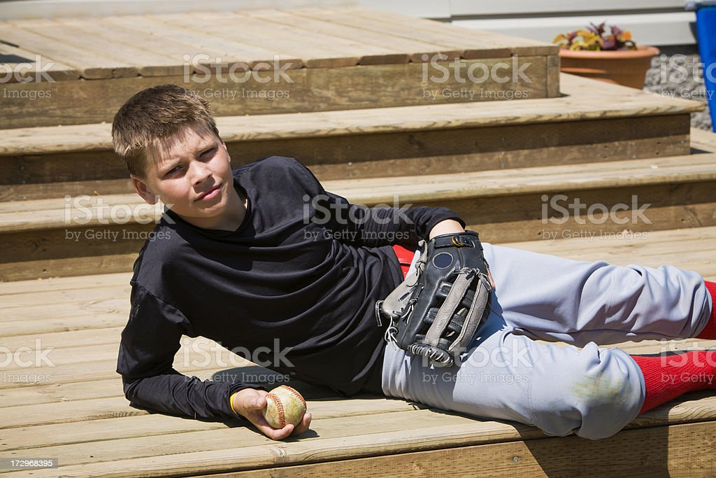 Ball player on deck stock photo