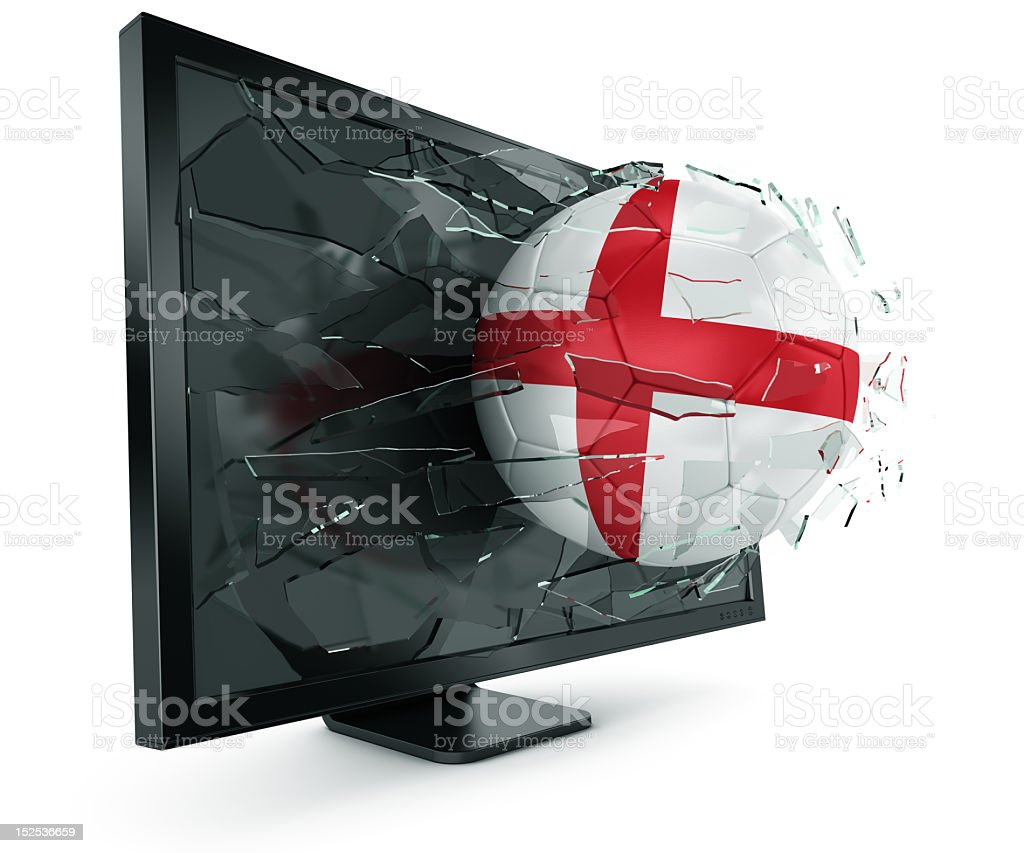 Ball through monitor royalty-free stock photo