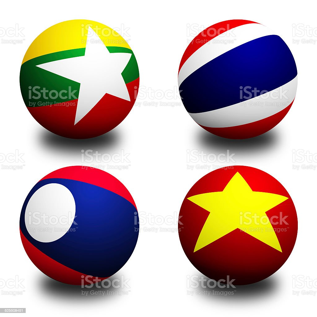 3D Ball with Flag of Asean Economic Community stock photo