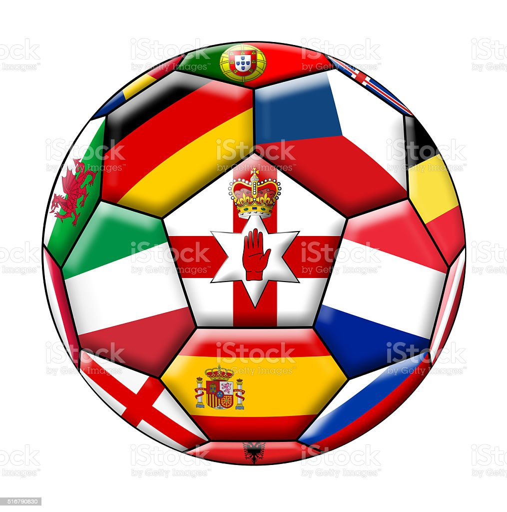 Ball with flag of Northern Ireland in the middle stock photo