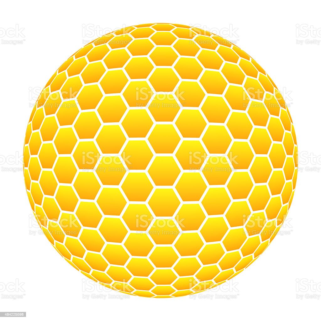 Ball with honeycomb pattern in orange vector art illustration