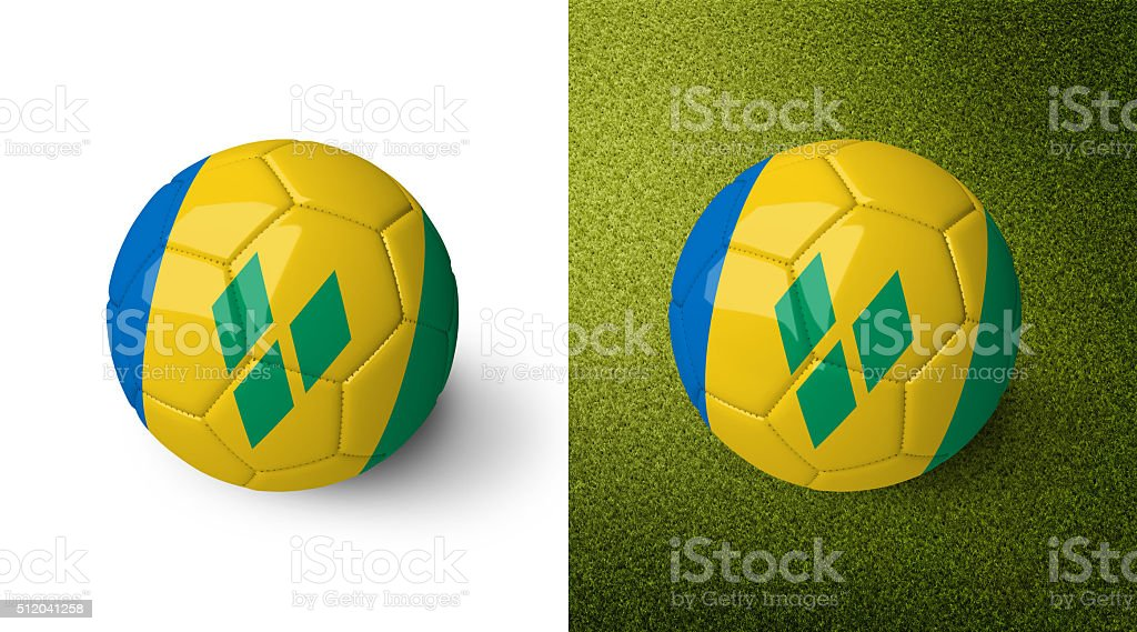 Ball with the flag of Saint Vincent and the Grenadines. stock photo