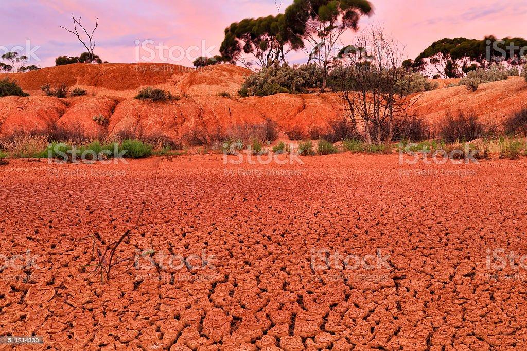WA Balladonia Dry soil close stock photo