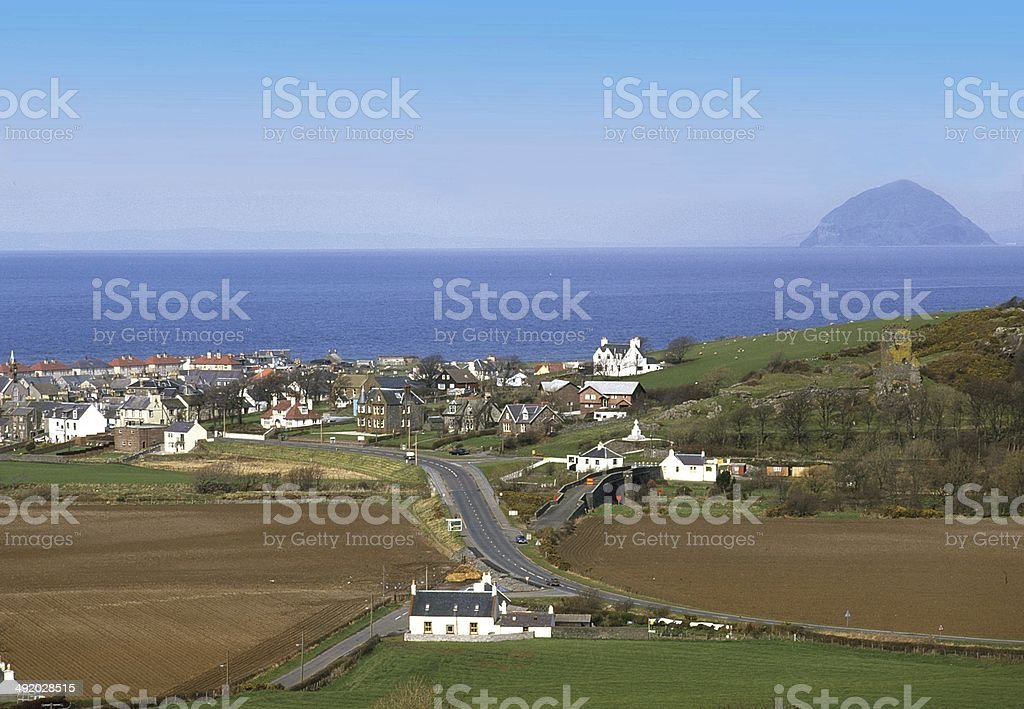 Ballantrae Village and Ailsa Craig Ayrshire stock photo
