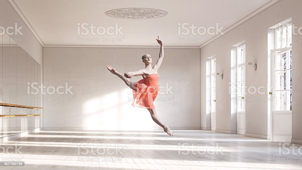 Ballerina at ballet class stock photo