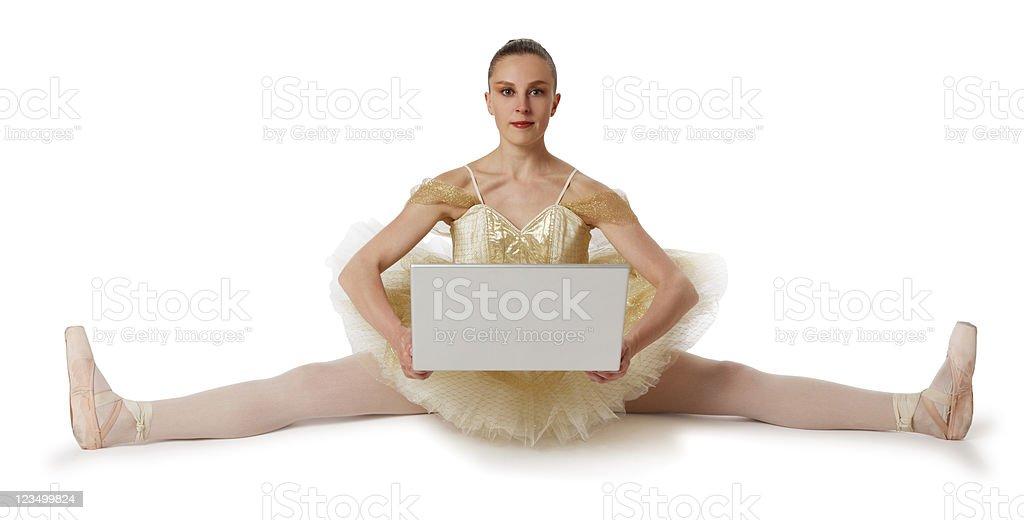Ballerina Holding a Laptop royalty-free stock photo