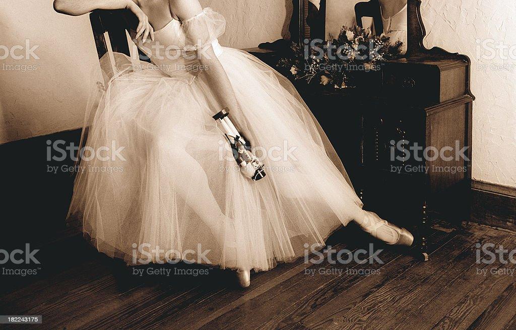 Ballerina Holding a Nutcracker stock photo