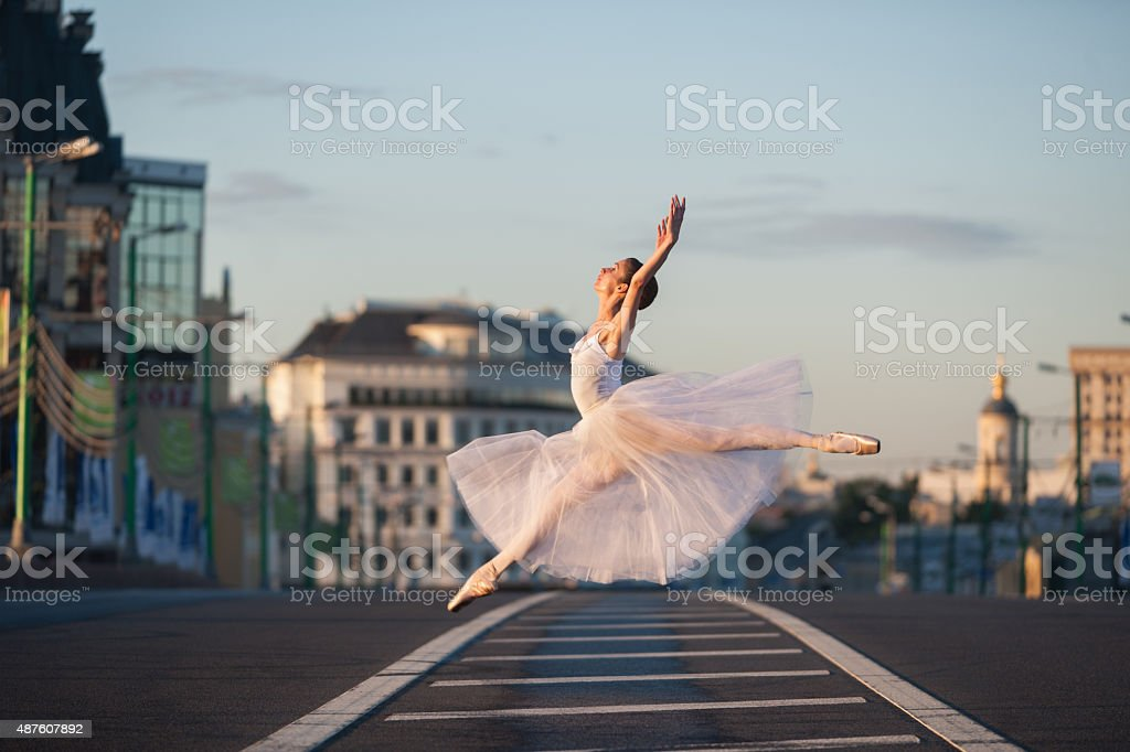 Ballerina in the center of Moscow stock photo