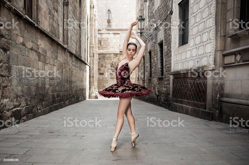 Ballerina in the city stock photo