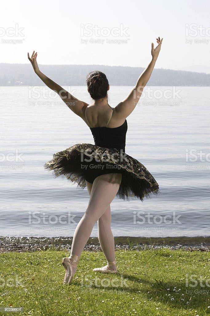 Ballerina in tutu outdoors royalty-free stock photo