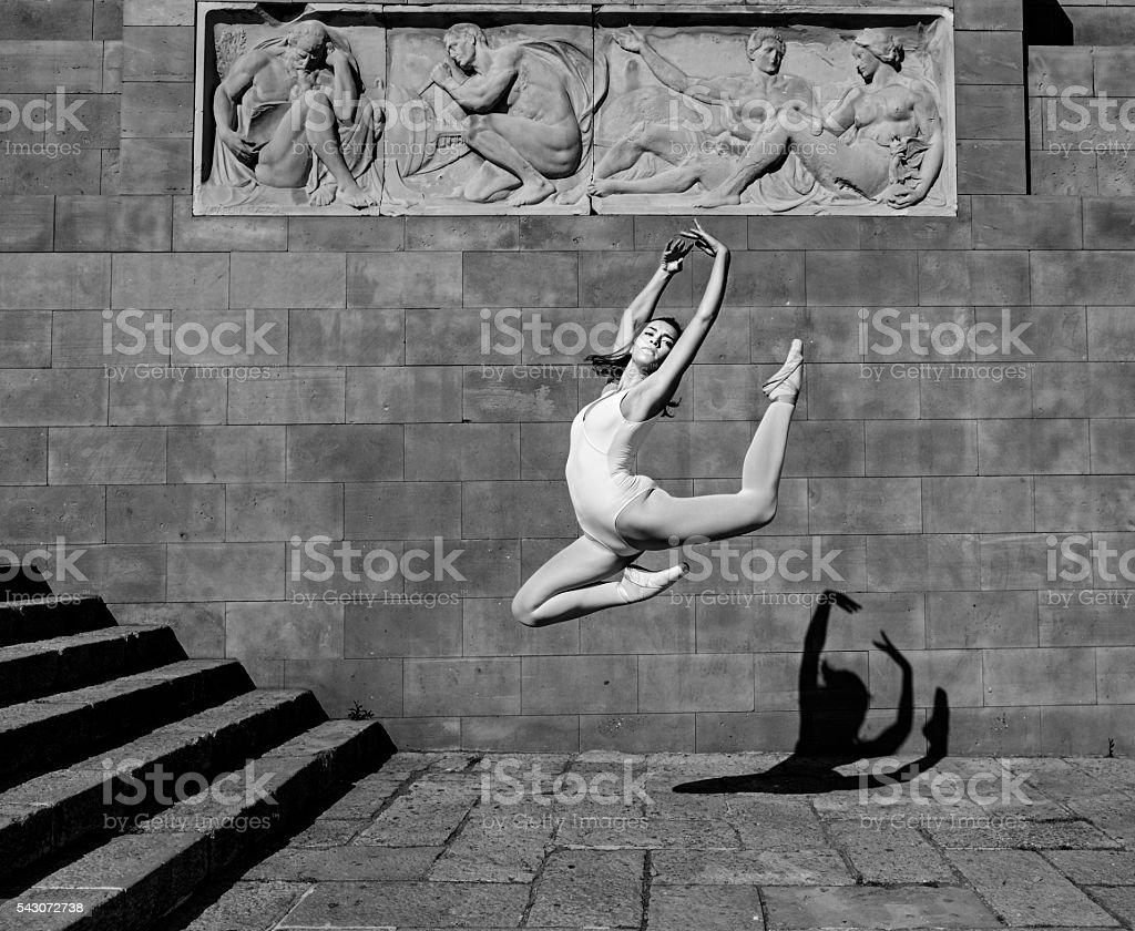 Ballerina jump stock photo