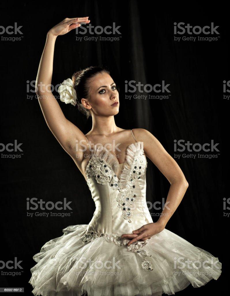Ballerina on stage stock photo