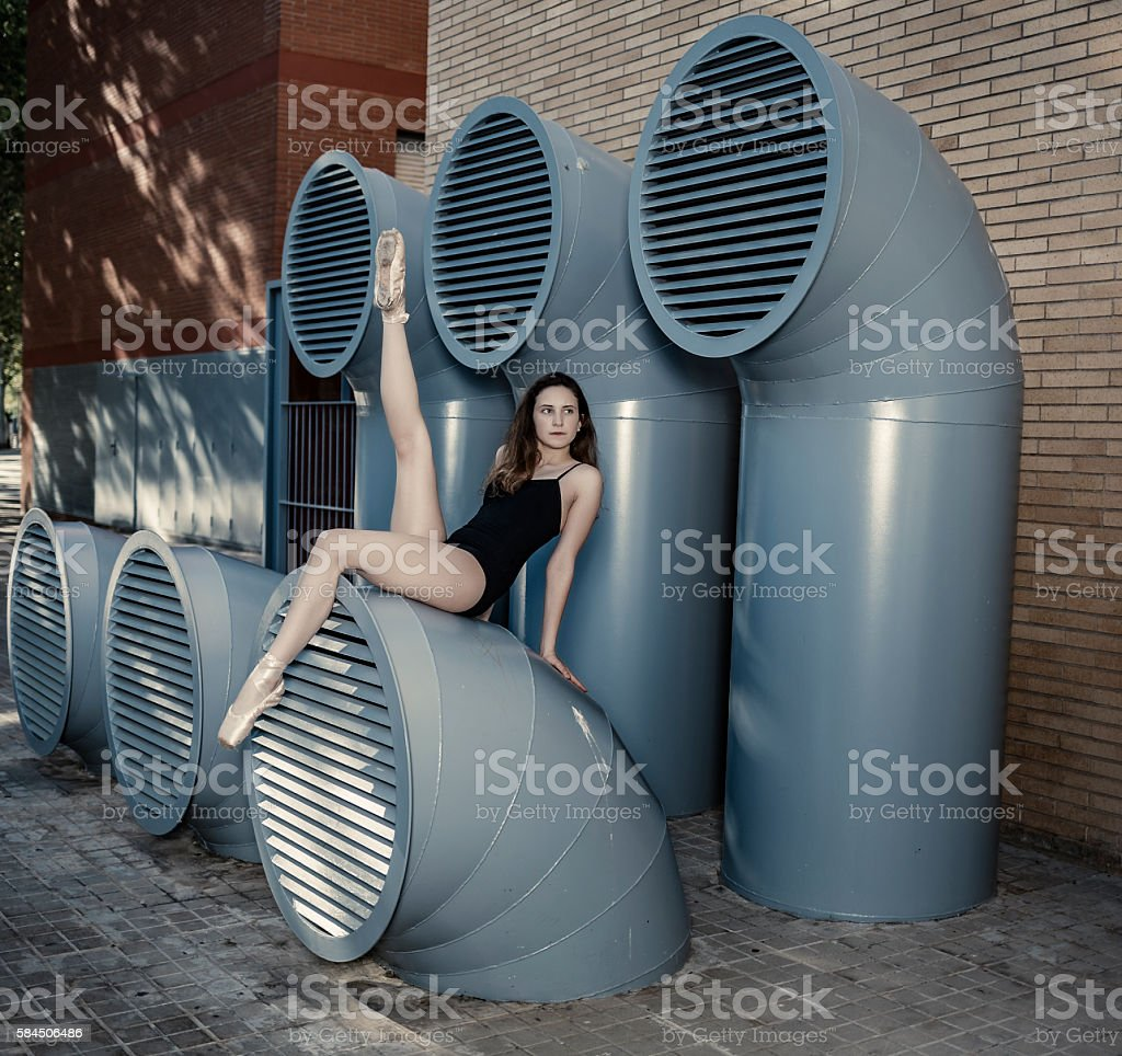 Ballerina performance in the city stock photo