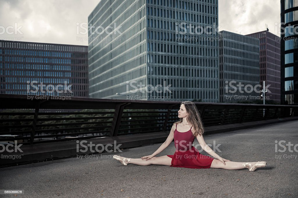 Ballerina performance in the city stock photo