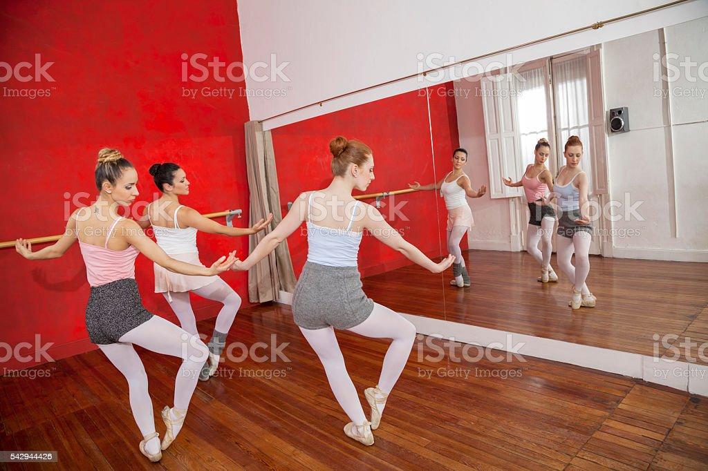 Ballerinas Dancing In Front Of Mirror At Studio stock photo
