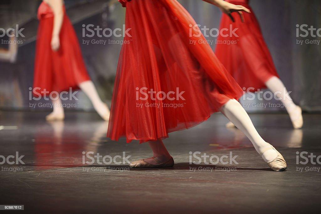 Ballerinas in red. stock photo