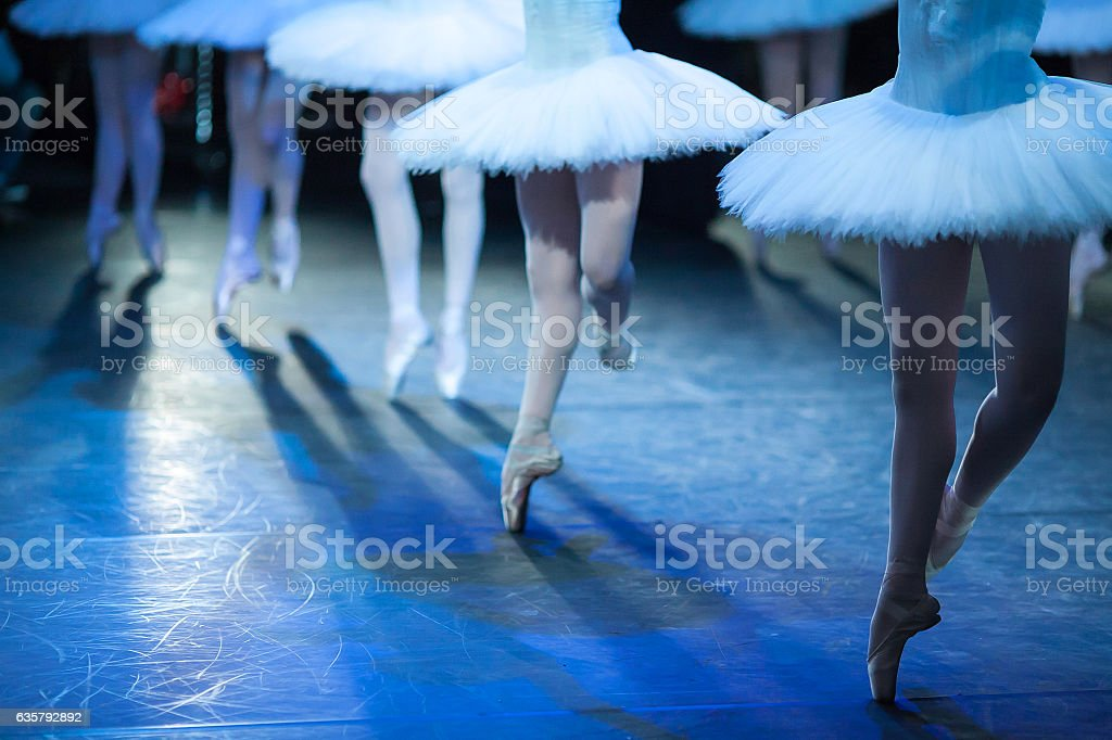 Ballerinas in the movement. stock photo