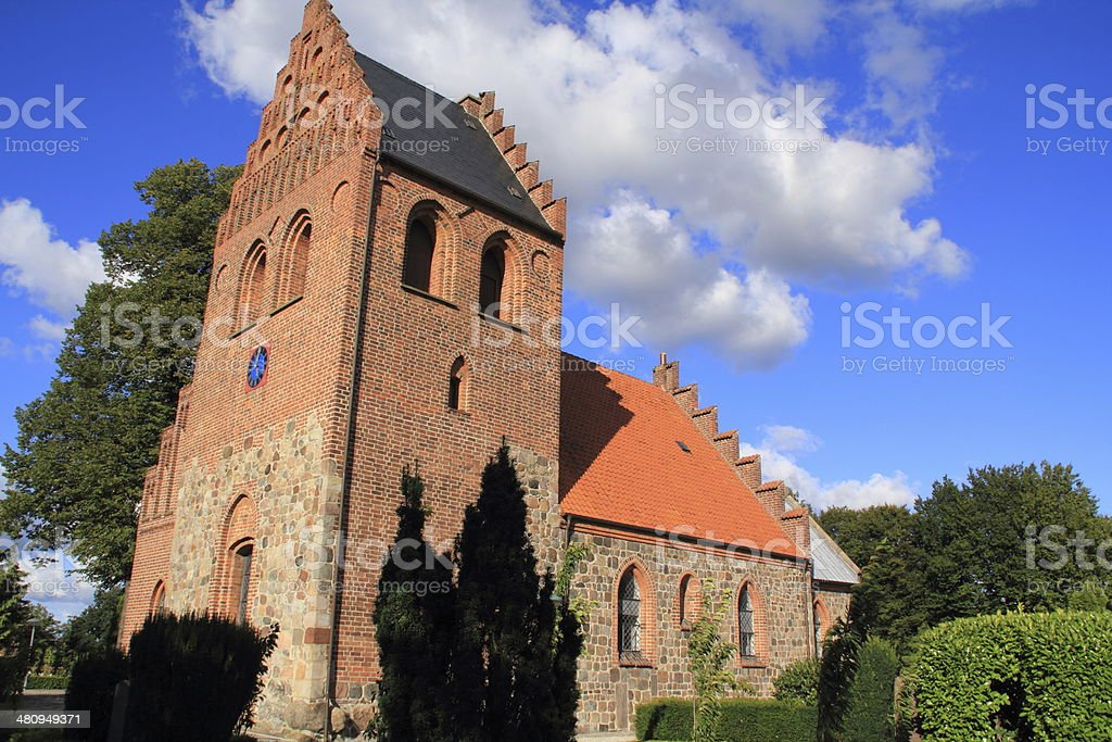 Ballerup Kirke -Romanesque village parish church and cemetary royalty-free stock photo
