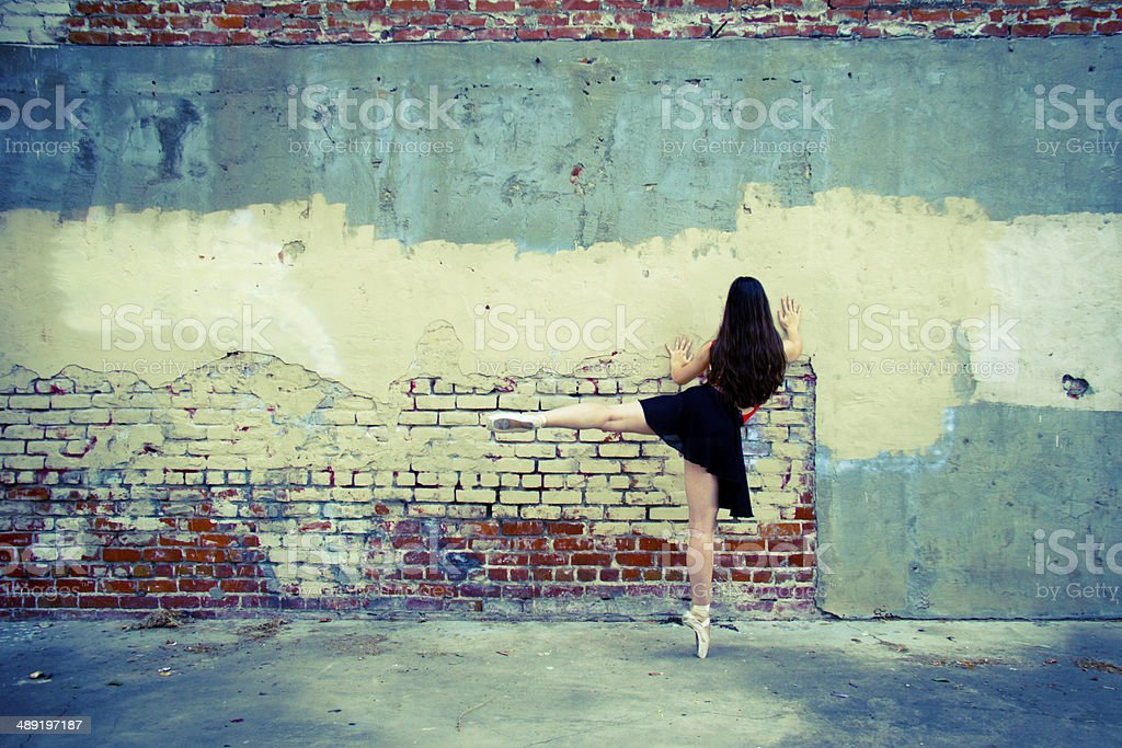 Ballet dancer back view up on point stock photo