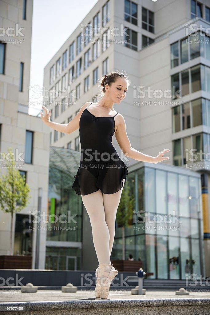 Ballet dancer dancing on street royalty-free stock photo