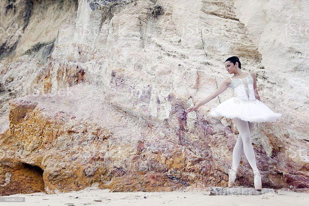 Ballet dancer in balance royalty-free stock photo