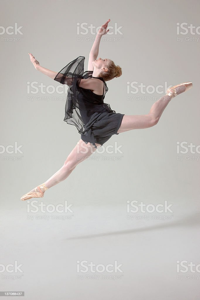 Ballet dancer in mid air stock photo