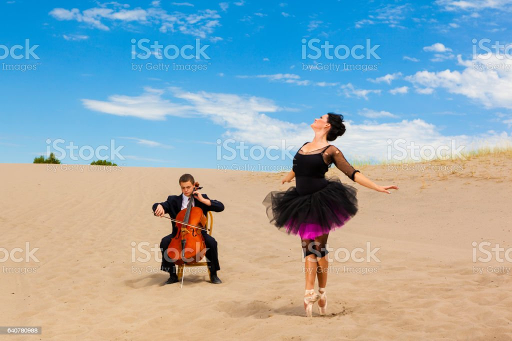Ballet Dancer In The Desert stock photo