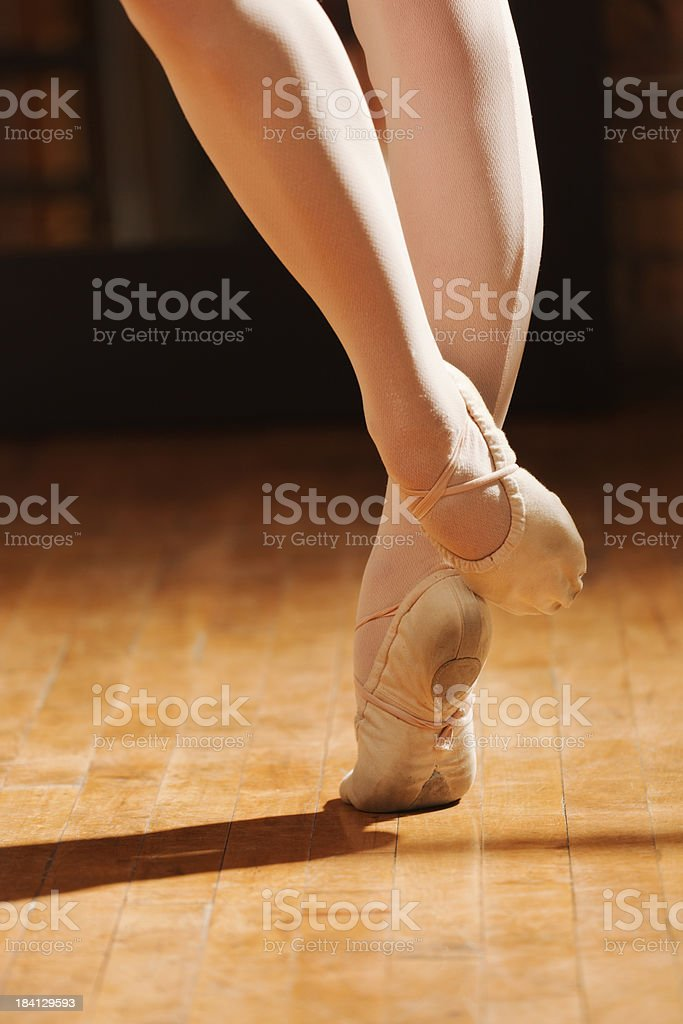 \'Subject: Vertical close-up view of a female ballet danceraas legs...